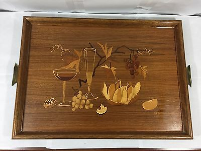 "Vintage Inlaid Wood Serving Drink Tray 20"" Signed Bg Grapes Wine"