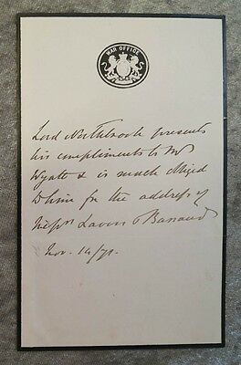 THOMAS BARING EARL of NORTHBROOK 1826-1904 Viceroy of India Autograph 1871#B906