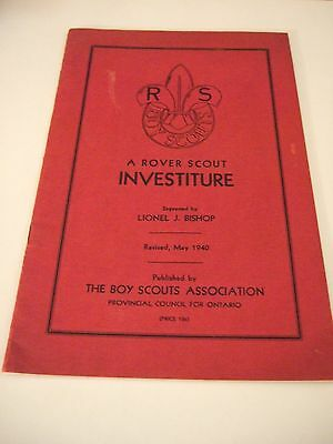 Canadian Boys Scouts Association  A Rover Scout Investiture Revised 1940 Booklet