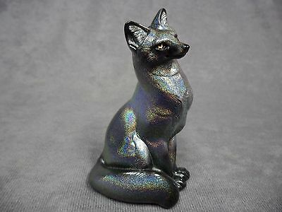 Windstone Editions * Silver Rainbow Sparkle Sitting Grey Fox * Statue Figure
