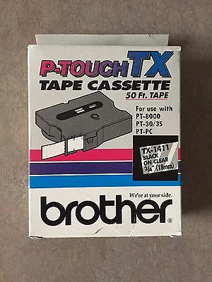 "BROTHER P-TOUCH  TX-1411 Black on Clear 3/4"" (18mm) NEW Factory Sealed"