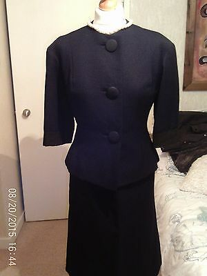 True Vintage Black 1950S Two Piece Costume Jacket And Skirt Size Approximately 8