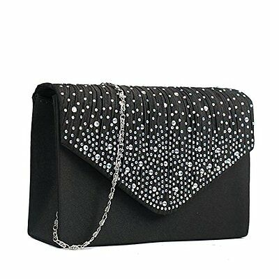 Miss Lulu Ladies Diamante Clutch Evening Bridal Wedding Bag Handbag (Black)