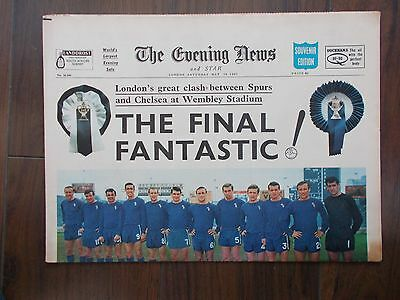 VINTAGE NEWSPAPER EVENING NEWS MAY 20th 1967 SPURS v CHELSEA FA CUP FINAL