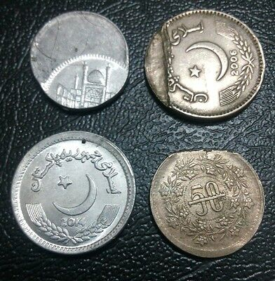 Pakistan Lot Of 4 Error Coins.re1,rs2,rs5,50Paisa.