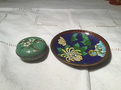Chinese Cloisonné Lidded Pot & Pin Dish in Floral Design  Very Collectable