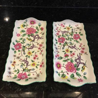 2 Vintage STAFFORDSHIRE ENGLAND James Kent OLD FOLEY Romantic CHINESE ROSE TRAYS