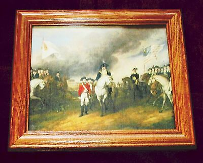 Framed Revolutionary War Painting on Canvas SURRENDER AT YORKTOWN, John Trumbull