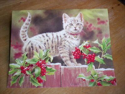 18 Kitten & Holly Christmas Cards by Susan Bourdet   NIB