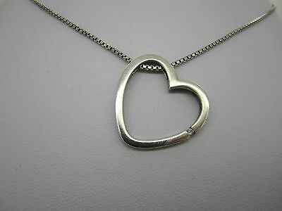 Vintage Solid Silver Necklace With Stone (Diamond?) Set Heart Pendant 925 6.9 G