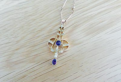 Exquisite Edwardian Amethyst & Seed Pearl Pendant In Rose Gold On Original Chain