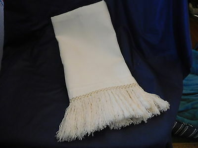"""1-2017-Fine Cotten In White-Tatted Scarf Or Runner With 3"""" Fringe-18X50"""" -Lqqkie"""