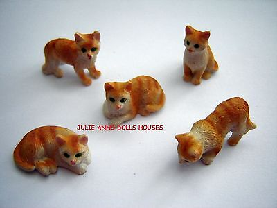 Dolls House Ginger Cat Resin Pet Miniature 12 Th Scale Accessories