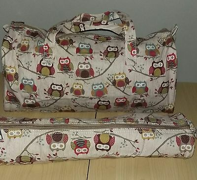 BNWT-Hobby Gift-Hoot Owl Design Fabric-Craft/Knitting Bags and Pin Cases