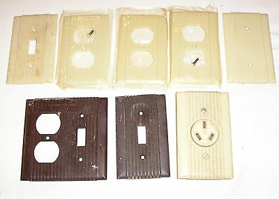 (8) Vintage UNILINE Ribbed Light Switch & Outlet Covers - 6 Ivory, 2 Brown