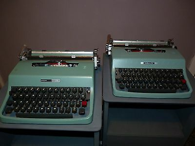 2 X Olivetti Lettera 32 Typewriters With One Case, Made In Italy & Spain