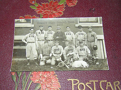 Vintage 1908 Howell Baseball Team With Mascot Real Photo