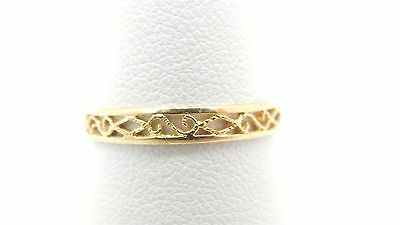 18k Yellow Gold Filigree Wedding Band Ring Size 7 1/2