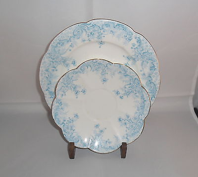 WILEMAN BLUE FERN PRINT PLATE & SAUCER ON LILY SHAPE pat.5900