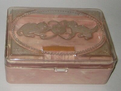 Vintage HOMMER'S Pink & White MARBLED Plastic SEWING Box KITTENS Playing w/YARN