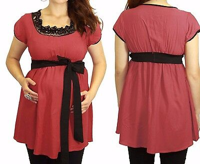 Coral Short Sleeve Maternity Top Blouse Womens New Black Detail BabyShower Belt