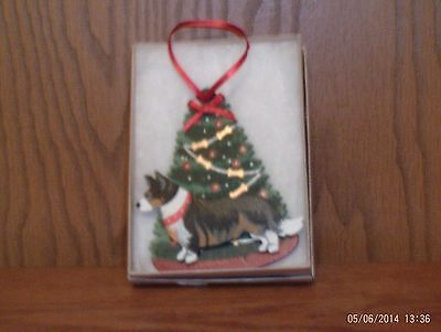 Hand Crafted Wooden Tree Ornament  Tri Colored Cardigan Welsh Corgi