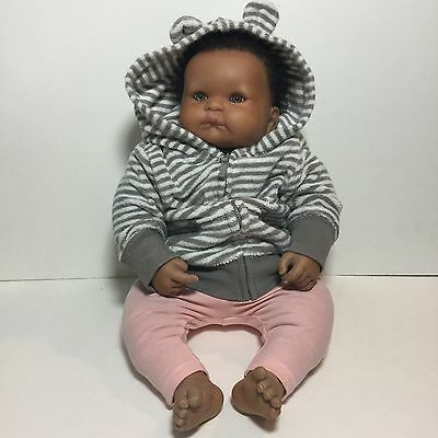 Reborn African American Baby Doll Hand Painted limbs skin implanted curly Hair
