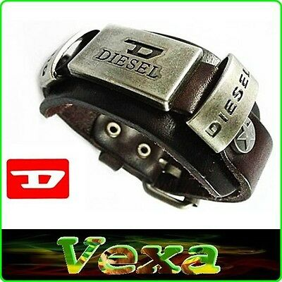 New DIESEL Leather Bracelet Dark Brown Bangle Wristband Men's Womens Surfer BD01