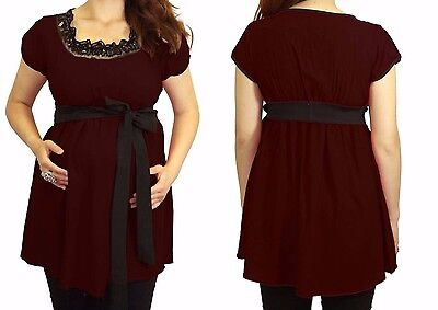 Burgundy Red Wine Short Sleeve Maternity Top Blouse Womens New Black Detail
