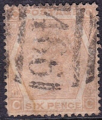 SG122b 6d Pale Chestnut. Plate 11. 'LIVERPOOL' Cancel. Very Fine Example. CV £90