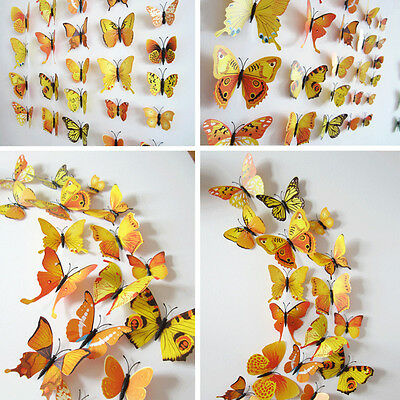 Yellow 12Pcs 3D Butterfly Wall Decals Home Room Curtain Stickers Decorations @9