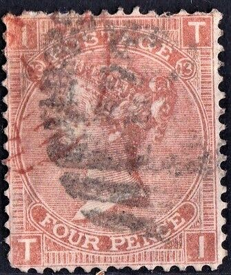 SG94 4d Vermilion. Plate 13. Lightly Cancelled. Fine Example. CAT £75