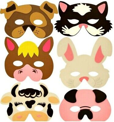 12pc mixed ANIMAL PARTY MASKS FoAm kids birthday bag toy filler costume dressing