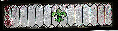 ANTIQUE AMERICAN STAINED GLASS TRANSOM WINDOW 52 x 14 ~ ARCHITECTURAL SALVAGE~