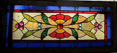 Antique American Stained Glass Transom Window 44 X 20 ~ Architectural Salvage~