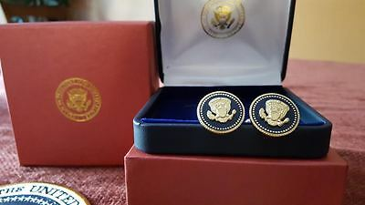 Cuff Links 24K Gold-Plated George W Bush Presidential Blue Cobalt Free Shipping