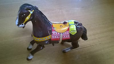 VINTAGE HAJI Japan Wind Up Tin Litho Horse WORKS GREAT-no rider