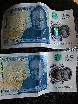 £5 Note RARE AA55 555555 And AA01