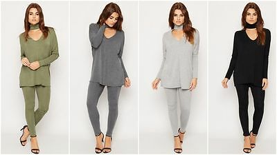 Womens Ladies Cut Out Choker Neck Batwing Loungwear Tracksuit Top Jogger Set