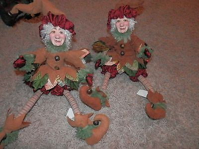 """2 KATHERINES COLLECTIONS fall ELF SHELF SITTER DECOR 14'"""" BENDABLE LEGS"""