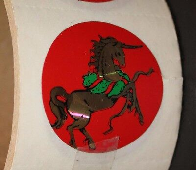 Vintage Unicorn Christmas Wreath Holiday Sticker Roll 19 Collection 1980's Lot