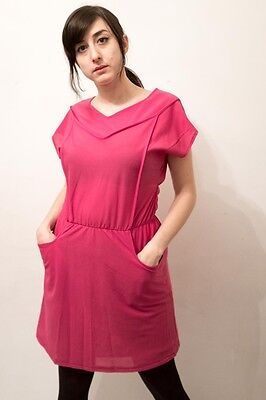 FG Vintage dress 60s pink with pockets.  small 8-10 Mod baby doll psych shift