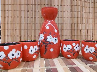 Porcelain Sake Set with 4 cups - Cherry blossom Red - Japanese Style