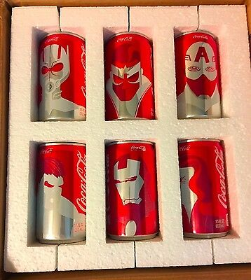 Mini Marvel Coca Cola Avengers Cans 6-Pack Set Limited Edition Promotion
