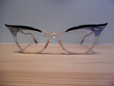 Vintage Clear, Gold, Pearly Blue & Black Cat Eye Glasses & Case