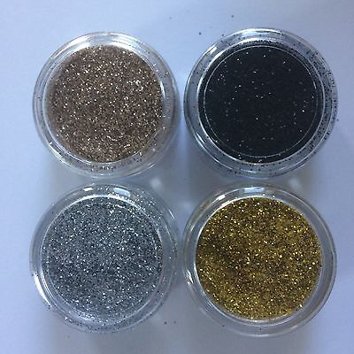 4 x 5ml FINE COSMETIC GLITTER SILVER GOLD CHAMPAGNE BLACK tattoos nails lips