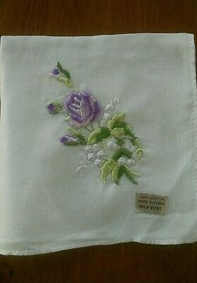 Vintage White 100% Cotton Handkerchief Hanky with Lavender Embroidered Rose  NWT