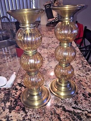 Antique BRASS &  AMBER  ROUND  BLOWN GLASS  STACKED  CANDLESTICKS  SET OF 2