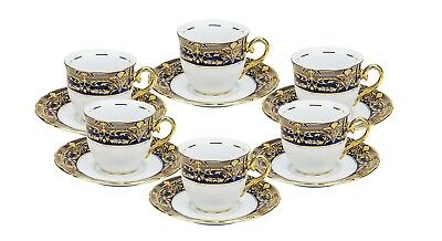 EURO Porcelain 12-Pc. Miniature Espresso Coffee Set 24K Gold Bone China (4 oz)