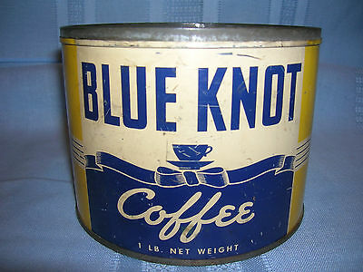 Vintage Blue Knot Coffee Tin Can Allentown, Easton, E.Stroudsburg PA - NO LID